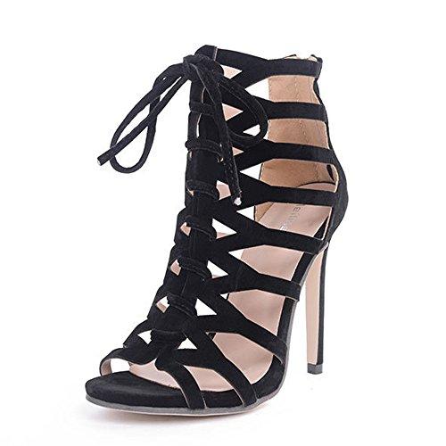 Sandalias para mujeres Cross Straps tacón Round Head personalidad de moda talones finos Street sandalias de verano gaolixia, negro, 39