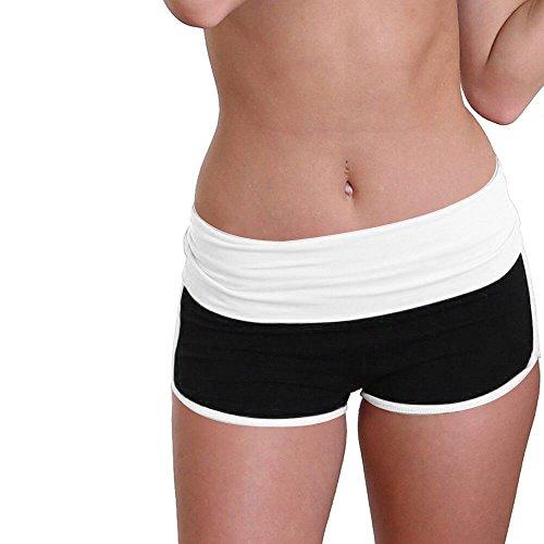 Women Short Yoga Pants Daoroka Waist Band Color Block Fold Over Flex Tummy Control Gym Workout Athletic Sport Running Short Pants Trouser (L, Black)