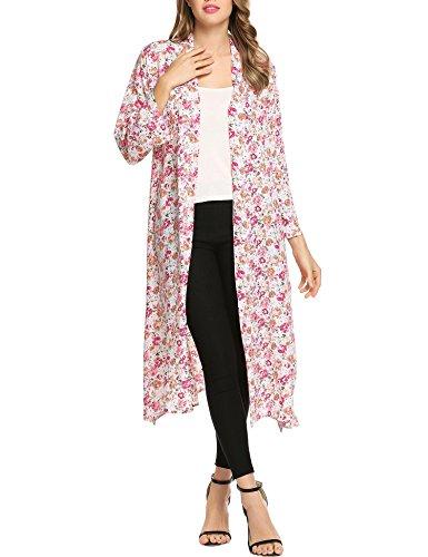 Zeagoo Women Maxi Long Floral Chiffon Kimono Cardigan Beach Cover up Red L