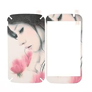 M.M Beautiful Girl Pattern Front and Back Leather Screen Protector Stickers for Samsung Galaxy Grand Duos i9082