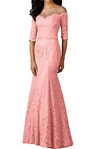 Abendkleider mit Damen Marie Festlichkleider Pfirsisch Braut Etuikleider Ballkleider Langarm Spitze Silber La xanYfzz