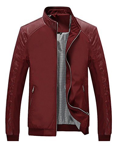 Tanming Men's Color Block Slim Leather Casual Jacket (Large, Red)