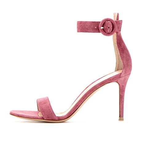 EDEFS Damen Peep Toe 80mm High Heel Sandalen mit Schnalle Sommer Stilettsandalen Knöchelriemchen Schuhe Purple-SL