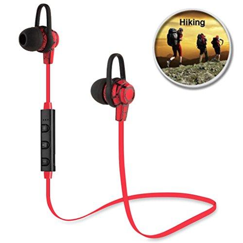 Wireless Bluetooth Headphone, Gotd In-Ear Stereo Sports Headphone Earbuds Headset Earphone for iPhone Samsung, Red