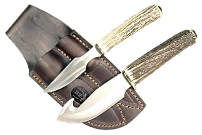 RUKO Genuine Deer Horn Handle Gut Hook Skinning Knife Set with Caping Knife and Leather Sheath