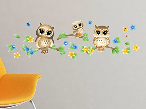 Owls Branches Fabric Wall Decal