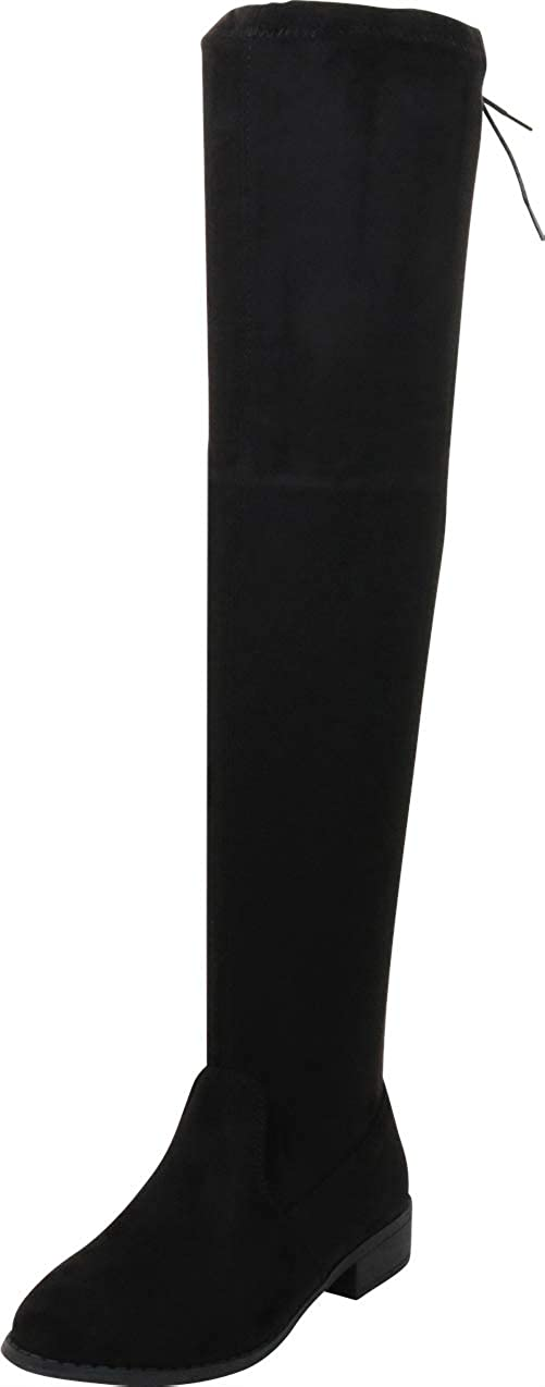 Nature Breeze Women Faux Suede Thigh High Drawstring Riding Boot FF72