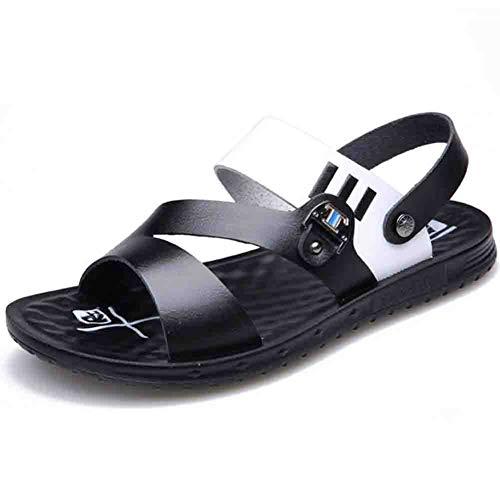 Da In Uomo Da Open Black Antiscivolo Toe Morbida Sandali Outdoor Traspiranti Spiaggia Pelle Sconosciuto 42 Pantofole YPXxIq56