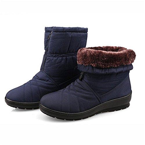 Flexible Inside Shoes Plus Cube Blue Women Snow Winter Boots Tribble Size Jeff Waterproof Cozy Boots Fur Warm qIPZPw