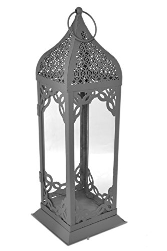 Large 13'' Modern Moroccan Matte Grey Metal Glass Tabletop/Hanging Lantern by American Chateau