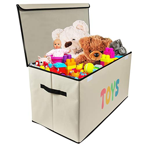 Woffit Toy Storage Organizer Chest for Kids & Living Room, Nursery, Playroom, Closet etc. - Extra Large Collapsible Toys Bin with Flip-top lid for Children & Dog Toys, Great Box for Boys and Girls