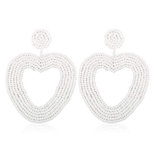 Statement Beaded Hoop Earrings, Drop Dangle Heart Earrings Bohemian for Women Girl Novelty Fashion Summer Accessories - VE135 White ()