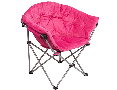 (GOJOOASIS Folding Saucer Chair Moon Round Soft Comfortable Short Plush Faux Fur Padded Club Seat for TV Living Room Dorm (Pink))