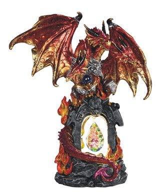 GSC Red LED Fire Dragon Light Up Statue with Dangling Crystal USB Connection for Easy Continuous Light 11 Inches Tall 71844