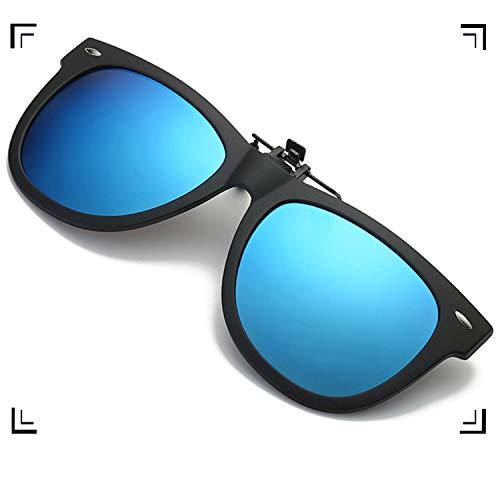 (Polarized Clip-on Sunglasses Unisex Oval Lens Flip Up Clip on Prescription Sunglasses Eyeglass for Women (Ice Blue))