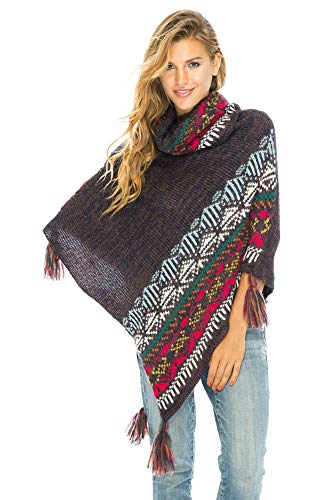 Back From Bali Womens Knit Sweater Cape Boho Soft T Neck Cowl Neck Poncho Tassels Brown ()