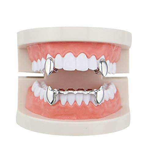 Hip Hop Teeth Caps Top Unisex Luxurious Gold Plated Hip Hop Bling Tooth Set 2pcs Single Top Vampire Fangs & Bottom Grill Teeth Caps - High Glossy for Adults Costume -
