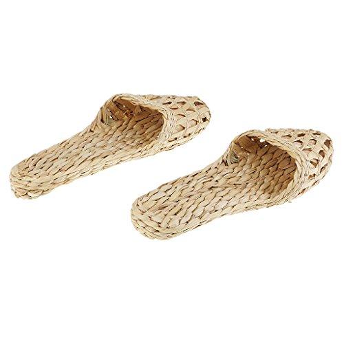 Per Naturale Donna Mano Uomo Pantofole Fatti Paio A Paglia Rattan Bambù Magideal Sandali Di vwqCaU
