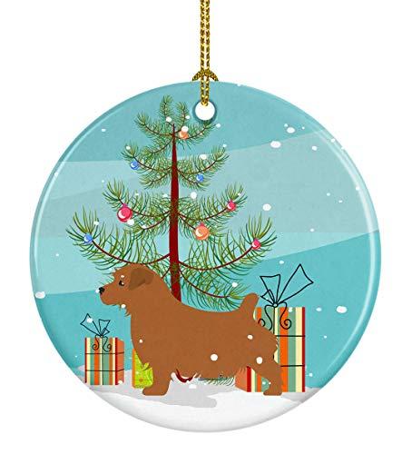 (Caroline's Treasures BB2927CO1 Norfolk Terrier Merry Christmas Tree Ceramic Ornament, 3 in, Multicolor)