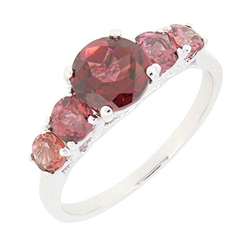 BL Jewelry Sterling Silver Genuine Garnet 5 Stone Ring (2 1/2 CT.T.W) ()