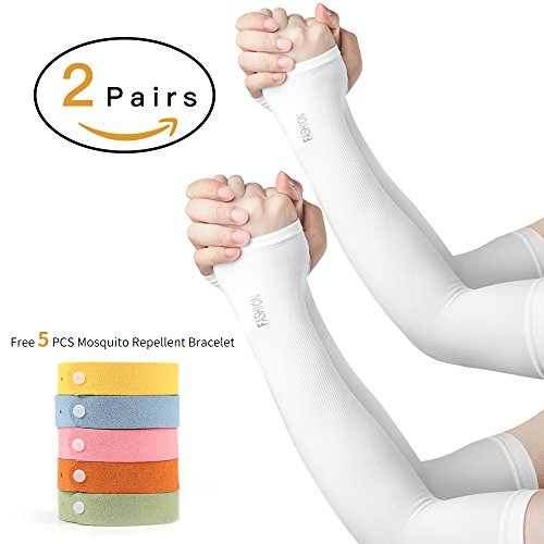 FIILINE UV Protection Long Cooling Arm Sleeves for Men & Women,Tattoo Cover Arm Warmer for Cycling, Driving, Running, Basketball, Football & Outdoor Activities, 2 Pairs(White + White)