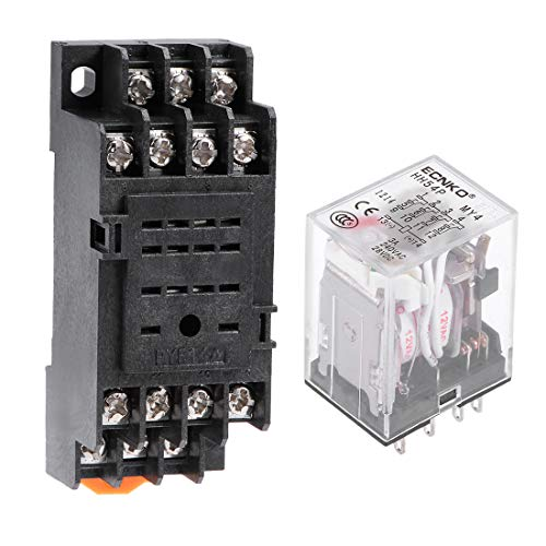 uxcell HH54P DC12V Coil DPDT 14Pins Green Light Electromagnetic Power Relay
