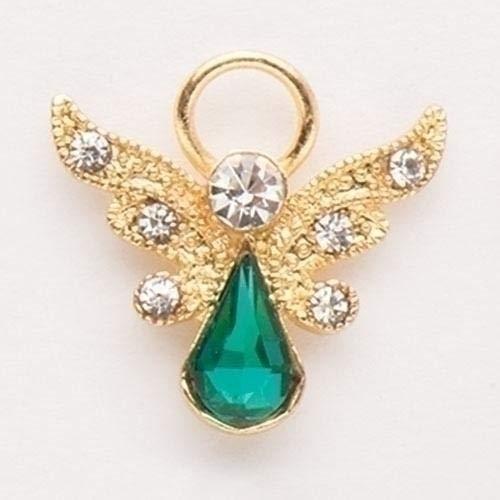 - Roman Birthstone Angel Pin May Emerald