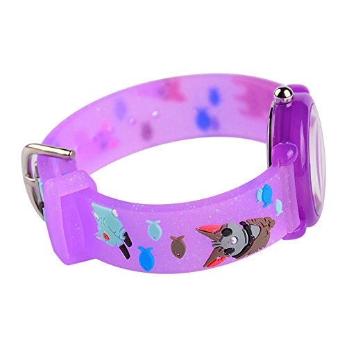 Toddler Kids Children Watch,3D Cute Cartoon Silicone Band Wristwatches Time Teacher Gifts Watches for Kids Girls Toddlers (Purple Cat) by Angels' (Image #3)