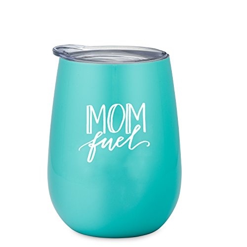 Funny Wine Tumbler for Mom - 12 oz Stainless Steel Stemless Wine Glass with Lid-Mom Fuel Wine Tumbler Sippy Cup for Adults -