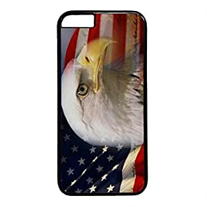 iCustomonline Bald Eagle Head And American Flag Designs Hard Case for iPhone 6 Plus (5.5 inch) Black