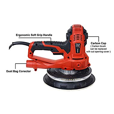 IBELL Dry Wall Sander DS80-90, 180MM, 800W, 1200-2300rpm with Vacuum and LED Light 10