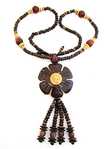 - Blue Orchid Large Coconut Shell Wood Statement Necklace Hand Carved Pendant Brown (Carved Lotus Flower)