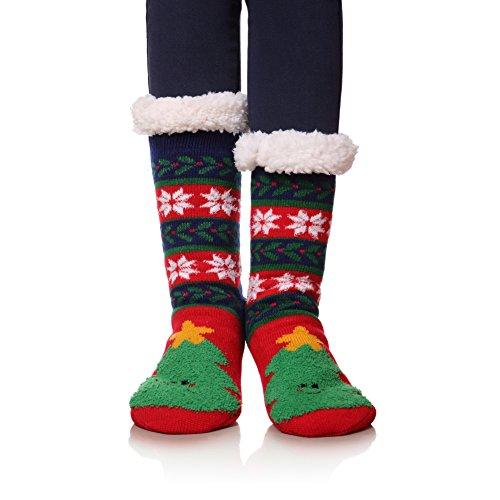 Fur Christmas Soft Stocking (MIUBEAR Womens Soft Rib Faux Fur Warm Cozy Fuzzy Winter Slipper Socks (Christmas tree Red))