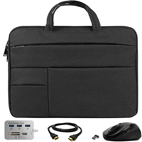 VG Bags Ultra-Slim Black 15-inch Laptop Sleeve Bag with USB Hub, Mouse, and HDMI Cable for Samsung Notebook 3, 5, 7 Spin, 9 Pen, 9 Pro, Odyssey 15.6