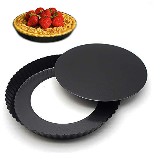 Removable Loose Bottom Quiche Pan, Non-stick Tart Pie Pan, Round Bakeware 8.5-Inches