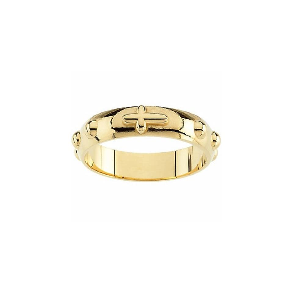 14K Yellow Gold Rosary Ring Band For Men and Women   Size 5 (Other Sizes Available)    LIFETIME WARRANTY Jewelry
