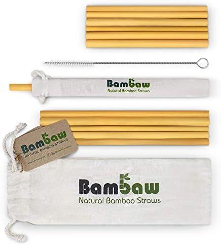 Herbruikbare Bamboe RietjesHerbruikbaar RietjeSterk DuurzaamCocktail RietjeBiologisch Afbreekbaar MilieuvriendelijkVaatwasserbestendig12 Rietjes 12 22cmOpbergzakjeBambaw