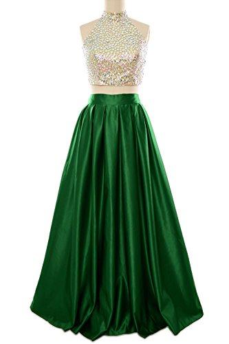 Evening Dunkelgrun Gown Women Ball MACloth High Neck Dress Homecoming Prom Two Piece Long Twn4Hzp6q