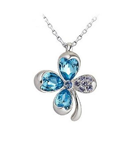 NEVI Flower Fashion Swarovski Elements Rhodium Plated Princess Pendant Necklace Jewellery for Women &amp; Girls (Blue &amp; Silver) <span at amazon