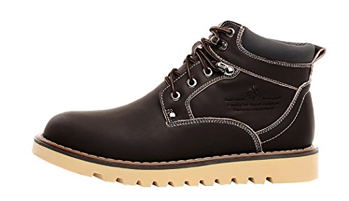 HTARCO Men's Fashion Breathable Work Utility Cowhide Leather Shoes(9.5D(M)US,brown)