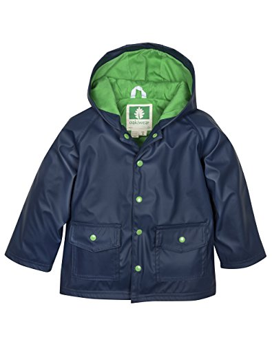 (OAKI Children's Rain Jacket, Navy/Green 2T)