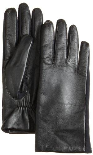Isotoner Women's Stretch Leather Glove,Black,Medium/Large