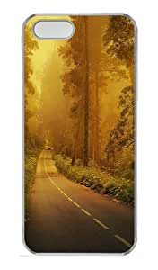Fog forest road Custom PC Hard Case Cover for iPhone 5S and iPhone 5 - Transparent