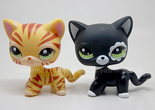 2pcs LPS #2249 #1451 Rare Littlest Pet Shop black yellow Short hair Cat Kitty (Littlest Pet Shop 1451)