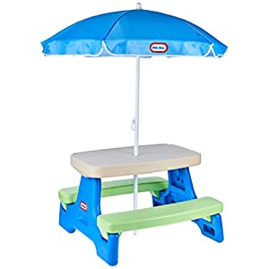 Little Tikes Easy Store Jr. Picnic Table with Umbrella – Blue / Green