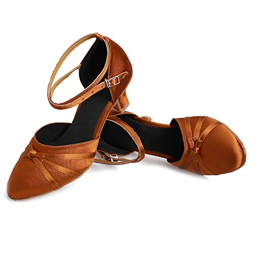 5cm Satin Latin Women's Shoes HIPPOSEUS Closed Model Dance Heel Brown Ballroom UKQU516 Toes Shoes Y7H1awq