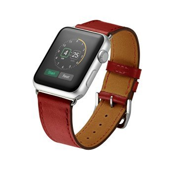 Kartice for Apple Watch Band Luxury Genuine Leather Watch Band Strap Bracelet Replacement Wrist Band With Adapter Clasp for iWahtch Apple Watch & Sport & Edition--red 38mm