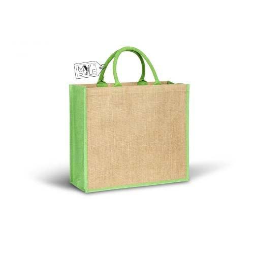 """'My Custom Style® Bolso Shopper Beige/Verde kiwi de yute natural de la colección """"Bruno Bags, cuerpo de la bolsa de color beige con adornos laterales laminados de color verde kiwi, con asas reforzadas"""