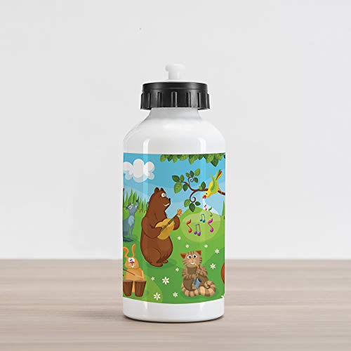 Ambesonne Hedgehog Aluminum Water Bottle, Open Air Concert in Forest Instrument Playing Bear Rabbit Fox and Tweeting Bird, Aluminum Insulated Spill-Proof Travel Sports Water Bottle, Multicolor (Concert Air Open)