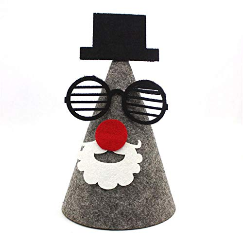 Love & Freedome 2018 Christmas Non-Woven Christmas Hat DIY Hotel Holiday Decoration Props,Gray ()